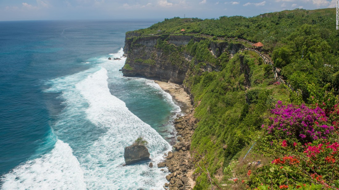 Uluwatu beach in Bali is one of the world's top surf destinations. The nearby temple Pura Luhur Ulu Watu, perched on cliffs on the southwest peninsula, is also a popular attraction.