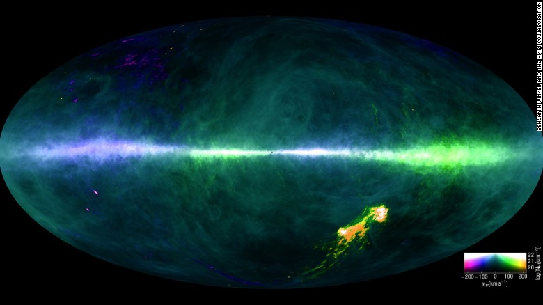 A map of the Milky Way showing concentrations of hydrogen. The Magellanic Clouds can be seen at the lower right.