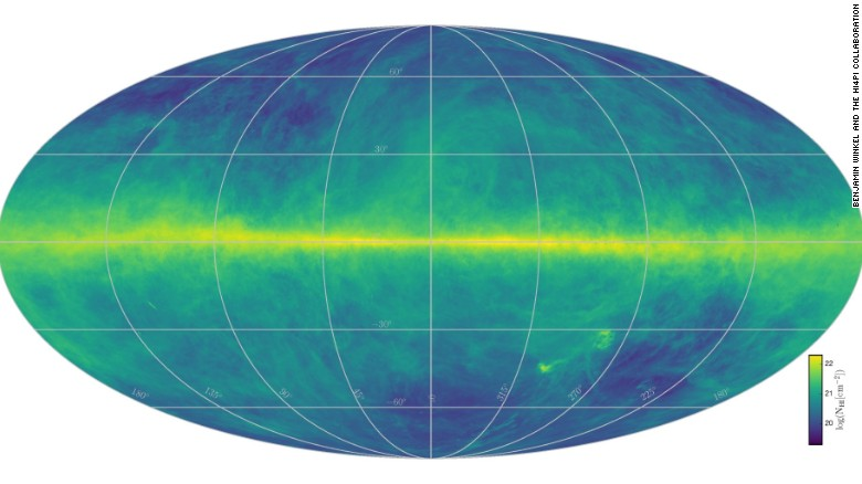 Data from telescopes in Germany and Australia was used to create the Milky Way hydrogen map.