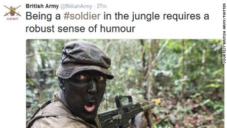 The British Army tweet of a soldier during jungle training in Belize.