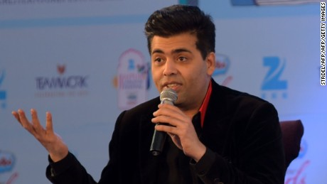 Indian Bollywood director Karan Johar speaks during the 'Unsuitable Boy' event moderated by Shobhaa De (C) during the Jaipur Literature Festival in Jaipur on January 21, 2016. AFP PHOTO / STR / AFP / STRDEL        (Photo credit should read STRDEL/AFP/Getty Images)