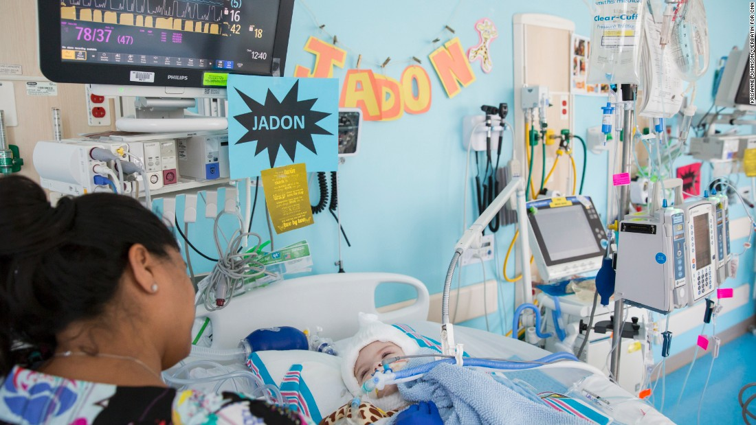 Jadon recovers in the Pediatric Critical Care Unit.