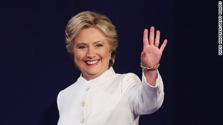 LAS VEGAS, NV - OCTOBER 19:  Democratic presidential nominee former Secretary of State Hillary Clinton waves to the crowd as she walks on the stage during the third U.S. presidential debate at the Thomas & Mack Center on October 19, 2016 in Las Vegas, Nevada. Tonight is the final debate ahead of Election Day on November 8.  (Photo by Drew Angerer/Getty Images)