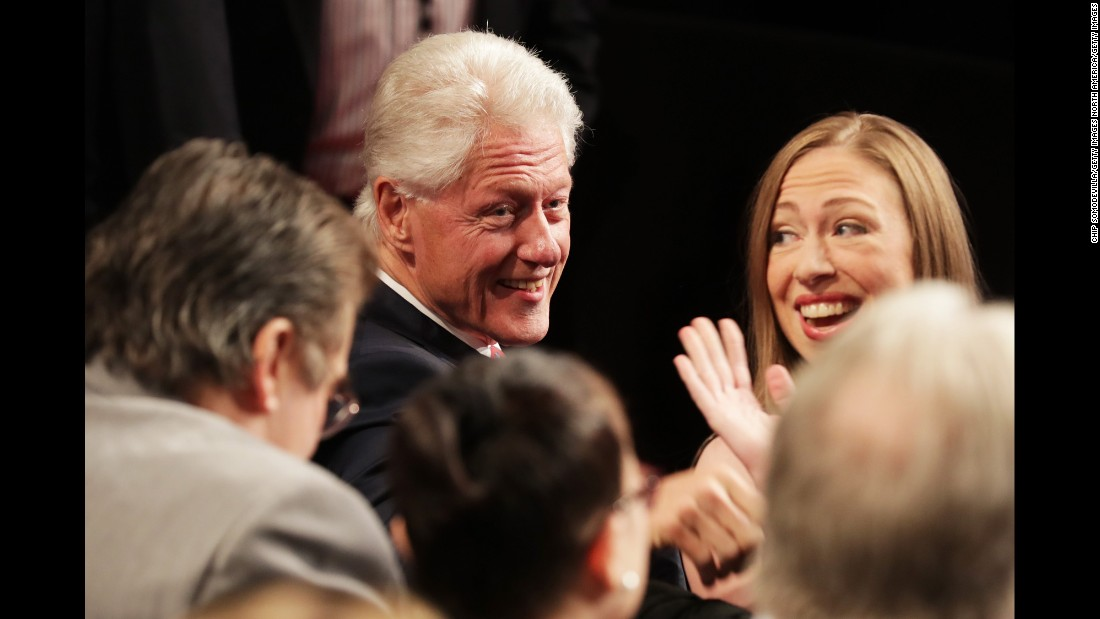 Clinton's husband, former U.S. President Bill Clinton, attends the debate with their daughter, Chelsea.