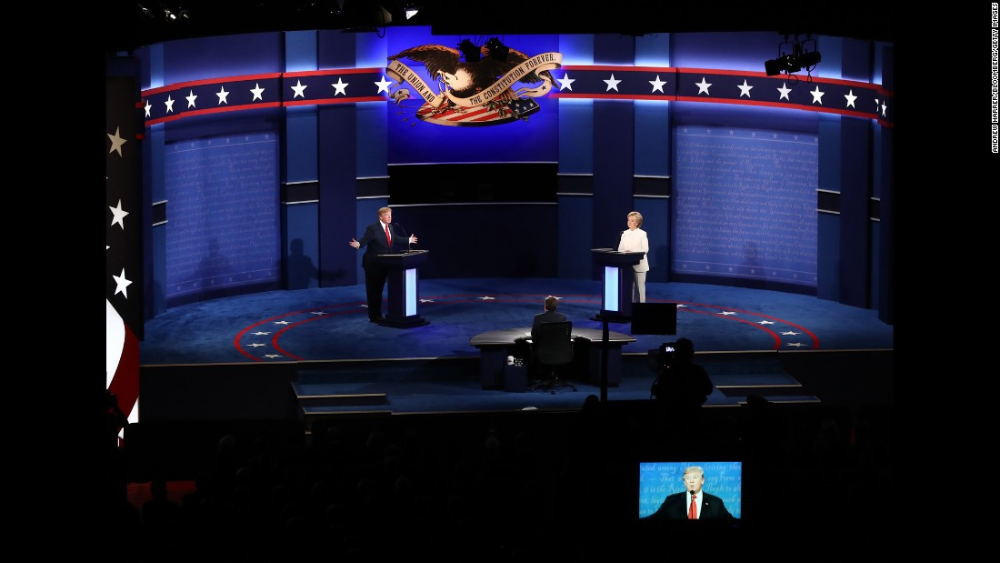 Trump speaks during the debate -- the third of three presidential debates this year. It took place in Las Vegas 20 days before Election Day.