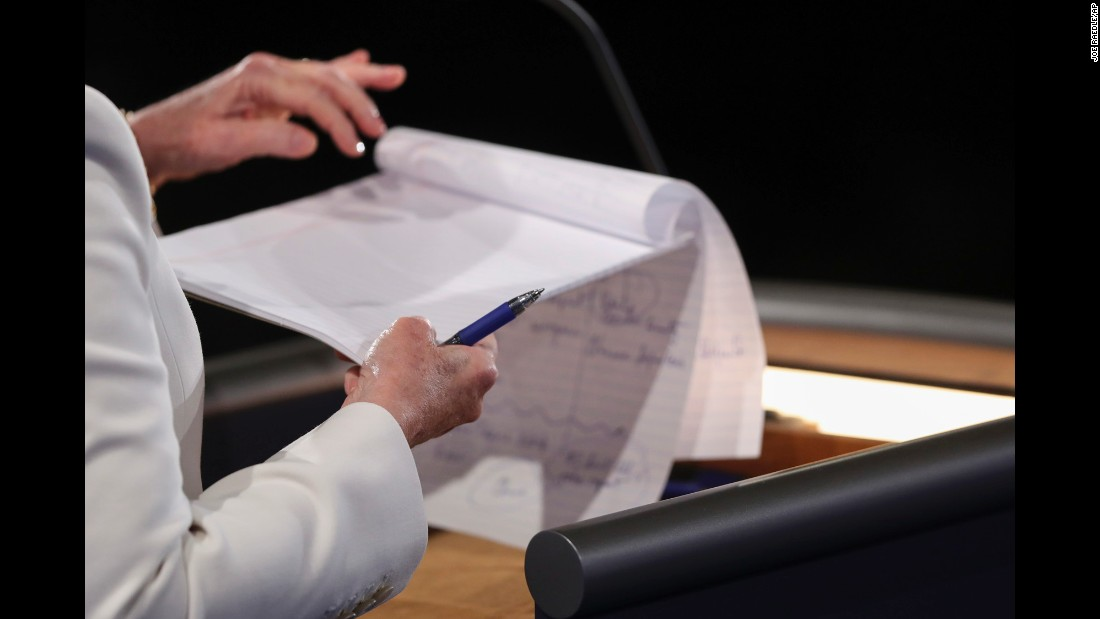 Clinton takes notes during the debate.