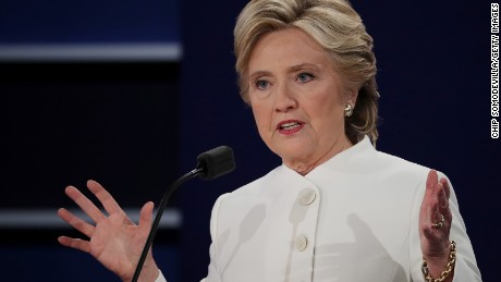 Democratic presidential nominee former Secretary of State Hillary Clinton speaks during the third U.S. presidential debate at the Thomas & Mack Center on October 19, 2016 in Las Vegas, Nevada.