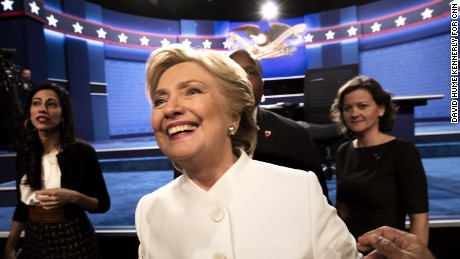 Democratic presidential candidate Hillary Clinton following the third presidential debate in Las Vegas, Nevada, October 19, 2016.