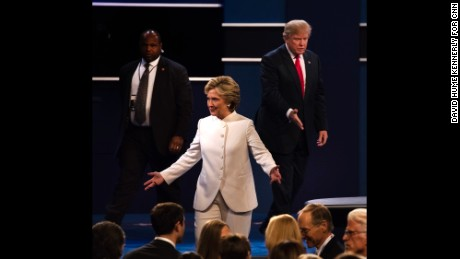LAS VEGAS-- OCT 19: Third Presidential debate with Hillary Clinton and Donald Trump, Las Vegas, Nevada, October 19 2016. (Photo by David Hume Kennerly/GettyImages)