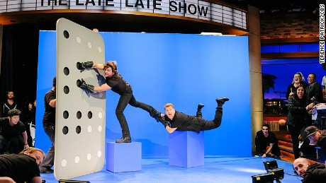 """Tom Cruise performs with James Corden during """"The Late Late Show with James Corden,"""" Wednesday, October 19, 2016."""
