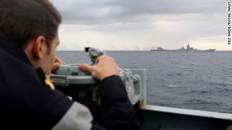 UK Royal Navy lookout, observing Russian warships during transit.