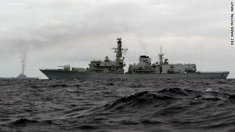 HMS Richmond, a Type 23 Duke Class frigate, sailed from the Shetland Islands after conducting routine training exercises and Maritime Security Operations, to escort the Russian Task Group which is understood to be on transit to the Mediterranean Sea.  The Russian Task Group, which includes the sole Russian aircraft carrier, Admiral Kuznetsov, the nuclear powered Kirov Class Battlecruiser, Pyotr Velikiy and two Udaloy Class Destroyers, Vice Admiral Kulakov and Severomorsk sailed from Russia on Saturday 15 October 2016.  Pictured  aircraft carrier Admiral Kuznetsov with HMS RICHMOND.