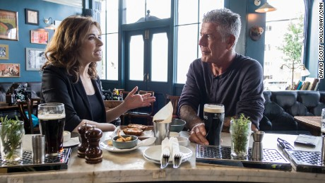LONDON, ENGLAND, UK - JUNE 27: Anthony Bourdain spends time with chef Nigella Lawson in London, England on June 27, 2016. (photo by David Scott Holloway / © 2016 Cable News Network. A Time Warner Company. All Rights Reserved.)