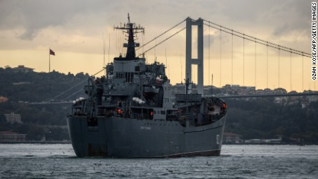 Russian Tapir class landing warship BSF Nikolay Filchenkov 152 passes the Bosphorus Strait off Istanbul on October 18, 2016, believed to be on its way to the Syrian port city of Tartus.  Russia's defence ministry said on October 10, 2016 that the country was poised to transform its naval facility in the Syrian port city of Tartus into a permanent base. / AFP / OZAN KOSE        (Photo credit should read OZAN KOSE/AFP/Getty Images)