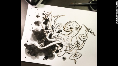 "Jake Parker believes that by using only ink for an entire month, artists force themselves to think out of the box. ""Constraints lead to creativity,"" said Parker who shares some of his ink drawings on his social media account."