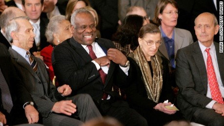 Associate Justice's of the U.S Supreme Court, Justice David H. Souter (L), Clarence Thomas (2nd-L), Ruth Bader Ginsburg (2nd-R) and Stephen G. Breyer (R) attend the swearing in ceremony for Samual Alitod in the East Room at the White House February 1, 2006 in Washington, DC.