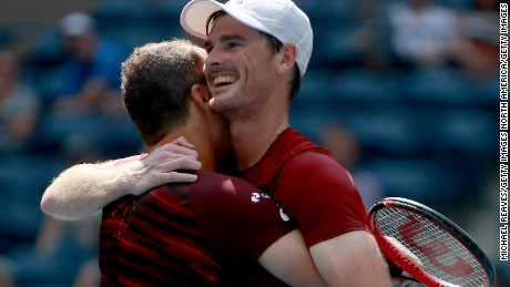 NEW YORK, NY - SEPTEMBER 10:  Jamie Murray (R) of Great Britain and Bruno Soares (L) of Brazil celebrate after defeating Pablo Carreno Busta and Guillermo Garcia-Lopez of Spain with a score of 6-2, 6-3 in their Men's Doubles Final Match on Day Thirteen of the 2016 US Open at the USTA Billie Jean King National Tennis Center on September 10, 2016 in the Flushing neighborhood of the Queens borough of New York City.  (Photo by Michael Reaves/Getty Images)