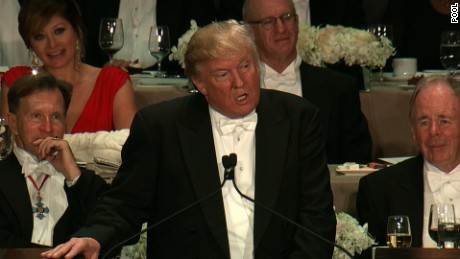 Image result for Pictures of Donald Trump at Al Smith dinner
