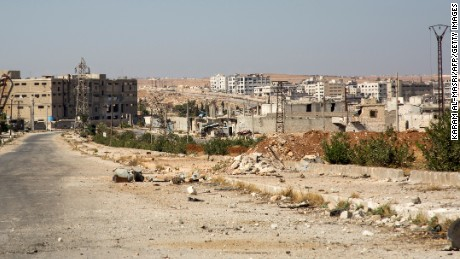 There was little sign residents were heeding calls to leave in Aleppo's rebel-held Kalasa neighborhood on October 20, 2016.