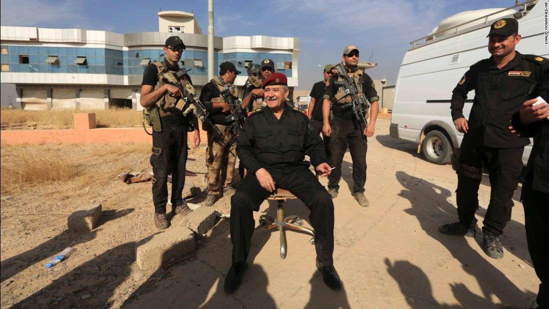 Gen. Abdel Ghani al-Asadi, who leads Iraq's counterterrorism forces, sits in Bartella on October 21 after the town was reclaimed.