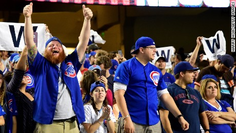 LOS ANGELES, CA - OCTOBER 20:  Chicago Cubs fans celebrate after the Chicago Cubs win 8-4 against the Los Angeles Dodgers in game five of the National League Division Series at Dodger Stadium on October 20, 2016 in Los Angeles, California.  (Photo by Harry How/Getty Images)