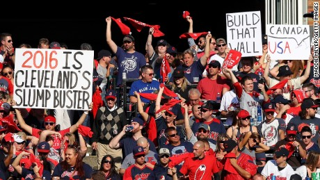CLEVELAND, OH - OCTOBER 15:  Cleveland Indians fans hold up signs prior to the start of game two of the American League Championship Series against the Toronto Blue Jays at Progressive Field on October 15, 2016 in Cleveland, Ohio.  (Photo by Maddie Meyer/Getty Images)