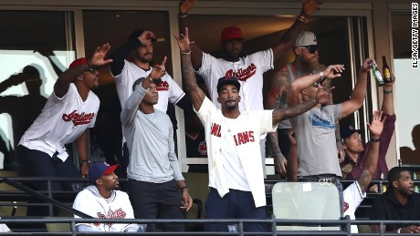 CLEVELAND, OH - OCTOBER 15:  National Basketball Association Cleveland Cavaliers attend game two of the American League Championship Series between the Toronto Blue Jays and the Cleveland Indians at Progressive Field on October 15, 2016 in Cleveland, Ohio.  (Photo by Elsa/Getty Images)