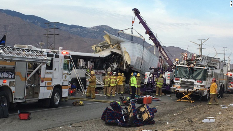 A tour bus crashed into a tractor trailer on I-10 early Sunday near Palm Springs, California.