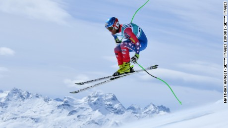 ST MORITZ, SWITZERLAND - MARCH 15: Steven Nyman of the US in action during the Audi FIS Alpine Skiing World Cup downhill training on March 15, 2016 in St Moritz, Switzerland.  (Photo by Matthias Hangst/Getty Images)
