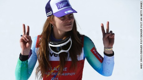 BEAVER CREEK, CO - FEBRUARY 06: Tina Maze, Slovenia, acknowledges a photographer as she heads to the flower ceremony after winning the downhill race at the FIS Alpine World Ski Championships at Beaver Creek Resort February 06, 2015. (Photo by Andy Cross/The Denver Post via Getty Images)