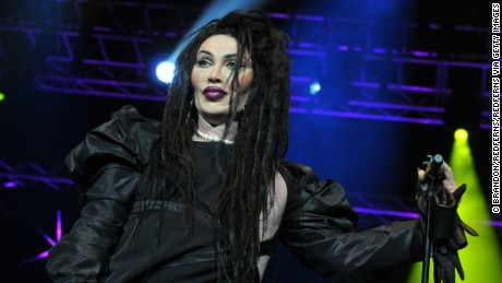 Pete Burns of Dead or Alive performs on stage at Hit Factory Live on December 21, 2012 in London, England. (Photo by C Brandon/Redferns via Getty Images)