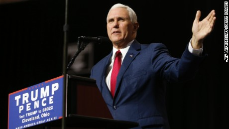Republican vice presidential candidate, Indiana Governor Mike Pence addresses a campaign rally in Cleveland, Ohio on October 22, 2016.
