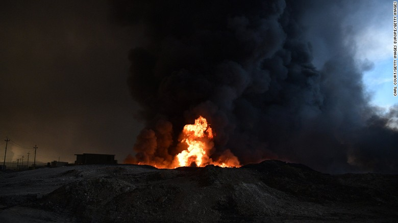 An oil field that was set alight by retreating ISIS fighters in Qayyara, near Mosul.