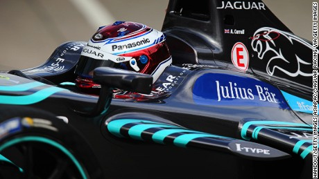 HONG KONG - OCTOBER 09: In this handout photo provided by Jaguar Racing, Adam Carroll of Great Britain driving the (47) Panasonic Jaguar Racing car during the Hong Kong ePrix, first round of the 2016/17 FIA Formula E Series on October 9, 2016 in Hong Kong. (Photo by Andrew Ferraro/LAT Photographic/Jaguar Racing via Getty Images)