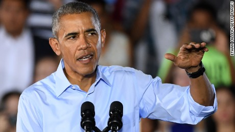 U.S. President Barack Obama speaks during a campaign rally for Democratic presidential nominee Hillary Clinton at Cheyenne High School on October 23, 2016 in North Las Vegas, Nevada.