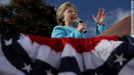 Democratic presidential nominee former Secretary of State Hillary Clinton speaks during a campaign rally at Saint Anselm College on October 24, in Manchester, New Hampshire.