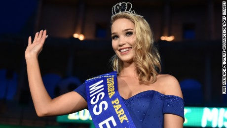 Arna Yr Jonsdottir from Iceland, winner of the 'Miss EM 2016' (Miss Euro 2016)competition celebrates on stage in Rust, Germany, 03 June 2016. The competition included 24 representatives from each country competing in the upcoming UEFA Euro 2016. Photo by: Uwe Anspach/picture-alliance/dpa/AP Images