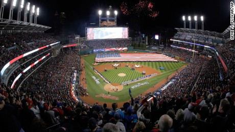 Fireworks explode over Progressive Field before Game One.