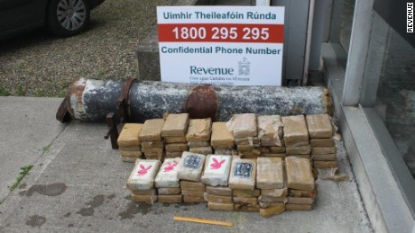 Irish authorities made the discovery public Monday. They said it's unclear where the drugs originated.