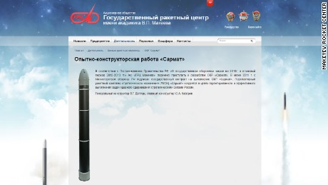 An image published by the Makeyev Rocket Design Bureau of the RS-28 Sarmat rocket, or 'Satan 2.'