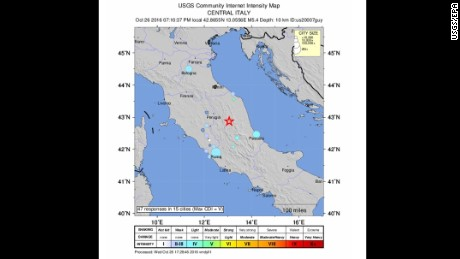 A handout shake map released by the US Geological Survey shows the location of a 5.6 magnitude earthquake striking in Perugia, Italy.