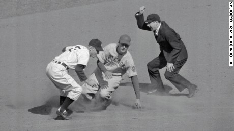 Umpire calling play during 1945 World Series game between the Chicago Cubs and the Detroit Tigers.