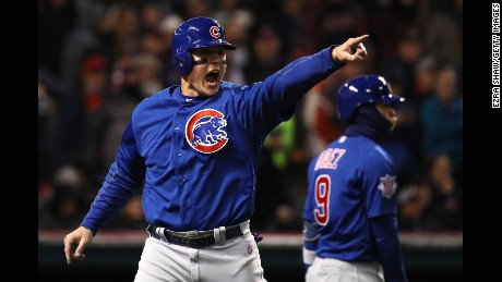 Anthony Rizzo #44 of the Chicago Cubs celebrates scoring a run on an RBI single hit by Kyle Schwarber #12 (not pictured) during the third inning in Game Two of the 2016 World Series against the Cleveland Indians at Progressive Field on October 26, 2016 in Cleveland, Ohio.  (Photo by Ezra Shaw/Getty Images)