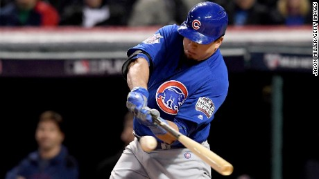 CLEVELAND, OH - OCTOBER 26:  Kyle Schwarber #12 of the Chicago Cubs hits an RBI single to score Anthony Rizzo #44 (not pictured) during the third inning against the Cleveland Indians in Game Two of the 2016 World Series at Progressive Field on October 26, 2016 in Cleveland, Ohio.  (Photo by Jason Miller/Getty Images)