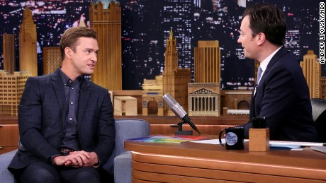 THE TONIGHT SHOW STARRING JIMMY FALLON -- Episode 0558 -- Pictured: (l-r) Actor Justin Timberlake during an interview with host Jimmy Fallon on October 26, 2016 -- (Photo by: Andrew Lipovsky/NBC)