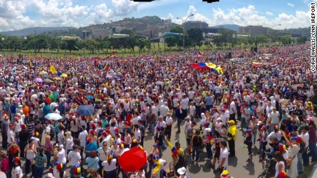Cora Wallis climbed on a wall to get this view of Wednesday's protest in Caracas, Venezuela