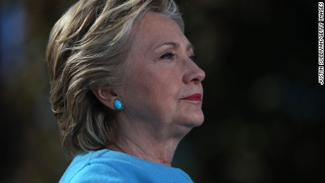 MANCHESTER, NH - OCTOBER 24:  Democratic presidential nominee former Secretary of State Hillary Clinton looks on during a campaign rally at Saint Anselm College on October 24, 2016 in Manchester, New Hampshire. With just over two weeks to go until the election, Hillary Clinton is campaigning in New Hampshire.  (Photo by Justin Sullivan/Getty Images)