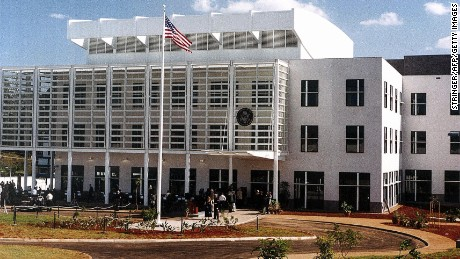 Nairobi, KENYA: Picture shows a general view of the American embassy in Nairobi taken in June, 2004. Two female passengers of a US embassy vehicle were shot dead in Nairobi, 27, January 2007 during a carjacking. The pair, beleived to be US citizens and mother and wife to a US embassy official, were among four occupants in the car waiting for a colleague when the attackers struck.