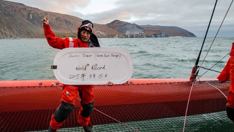 Chinese sailor Guo Chuan after breaking the North East Passage World Record in September 2015.