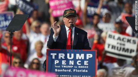 Republican presidential candidate Donald Trump speaks during a campaign rally at the Million Air Orlando, which is at Orlando Sanford International Airport on October 25, 2016 in Sanford, Florida.